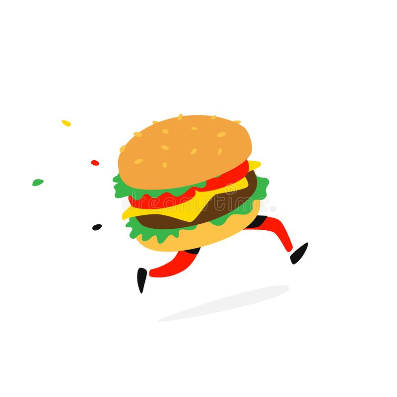 Icon running hamburger. Vector. Logo for fast food and food delivery. Funny illustration of a sandwich with a cutlet. Cartoon. Badge, emblem for the company royalty free illustration