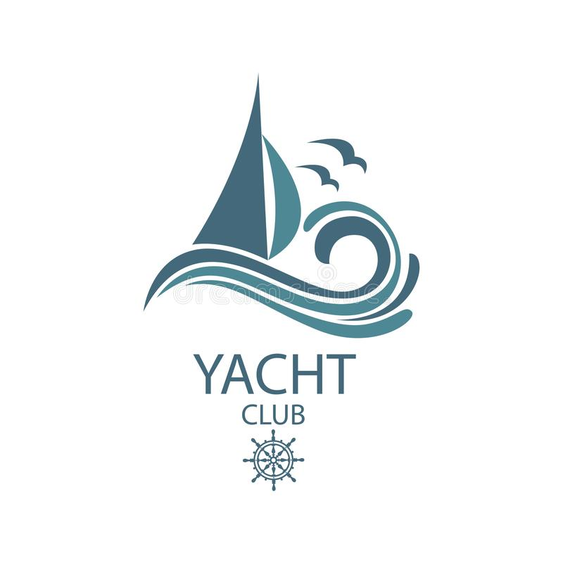 Yacht and waves icon. Icon of sailing yacht and ocean waves with seagulls royalty free illustration