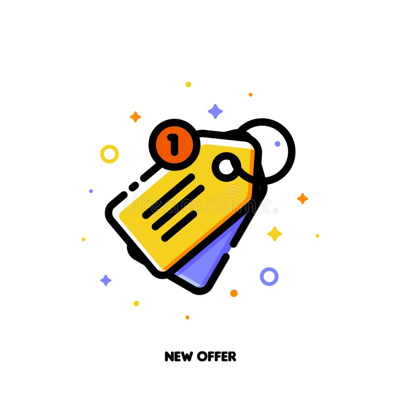 Icon of sale price tag for new offer concept. Flat filled outline vector illustration