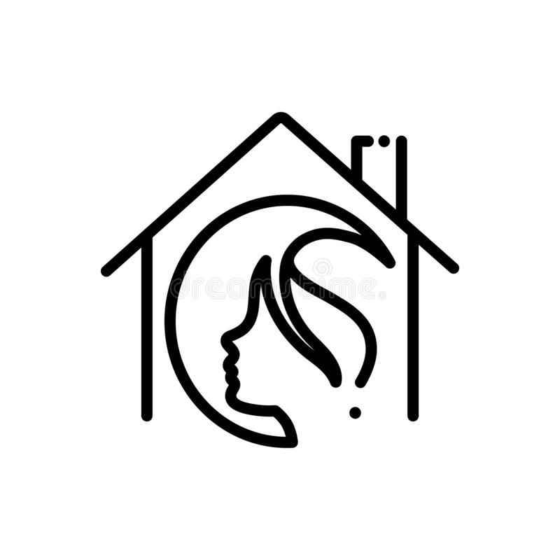 Black line icon for Salon At Home, haircut and service. Black line icon for salon at home, haircare, profession, maintenance, haircut and service royalty free illustration