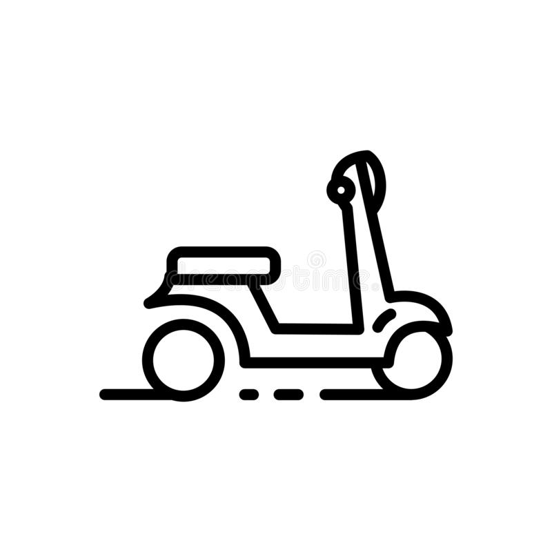 Black line icon for Scooter, motorcycle and ride. Black line icon for Scooter, vespa, motorbike, transportation, vehicle, drive, motorcycle and ride stock illustration