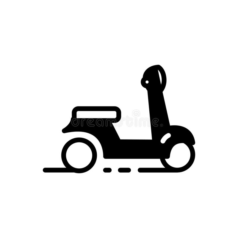 Black solid icon for Scooter, motorcycle and motorbike. Black solid icon for Scooter,  transport, ride, vehicle, drive, transportation,  motorcycle and motorbike vector illustration