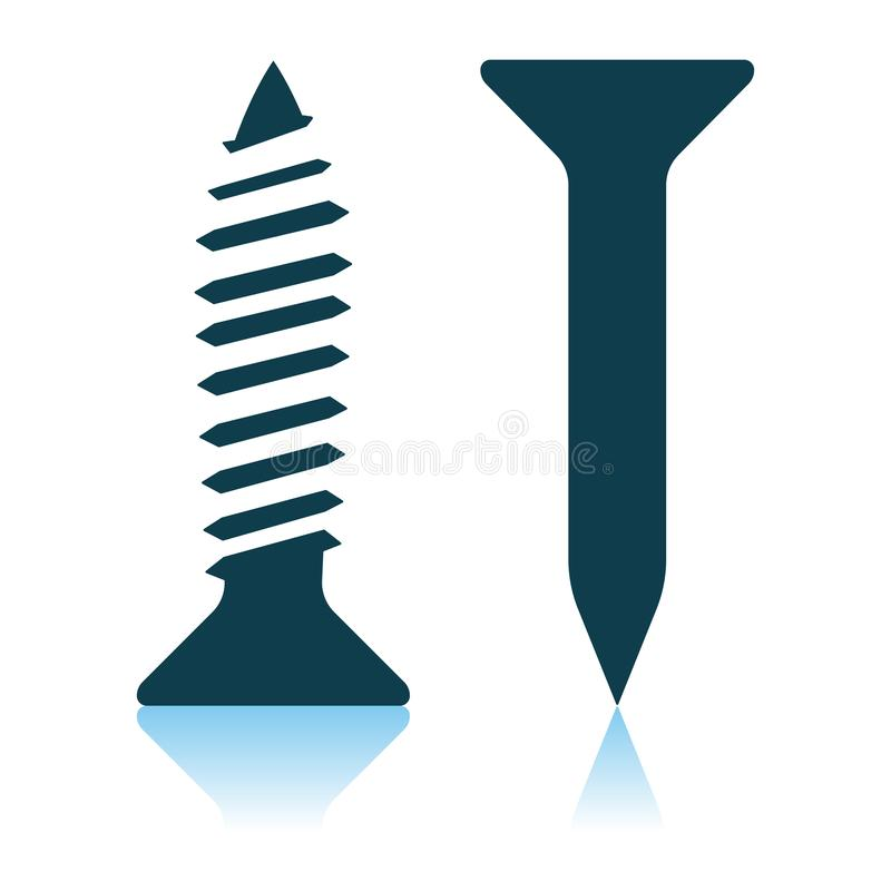Icon Of Screw And Nail. Shadow Reflection Design. Vector Illustration stock illustration