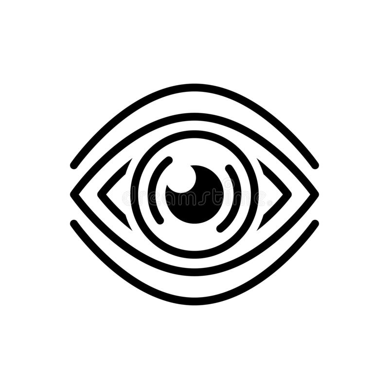 Black line icon for See, discern and sight. Black line icon for see, scrutinize, logo, vision,  discern and sight vector illustration