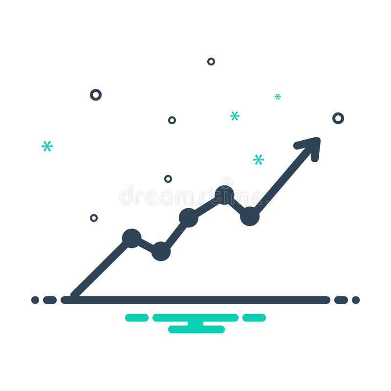 Black mix icon for Sensex, market and stock. Black mix icon for Sensex, graph, strategy, logo, symbol,  market and stock stock illustration