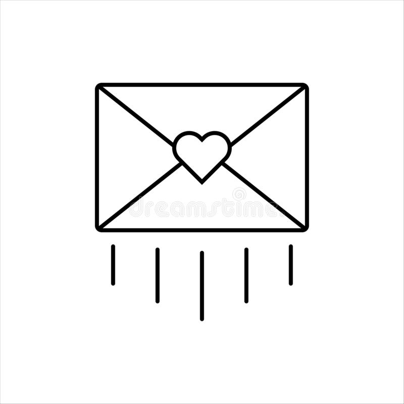 Icon of a sent letter mail envelope with a heart shape. Love message design symbol. Thin outline style vector illustration stock illustration