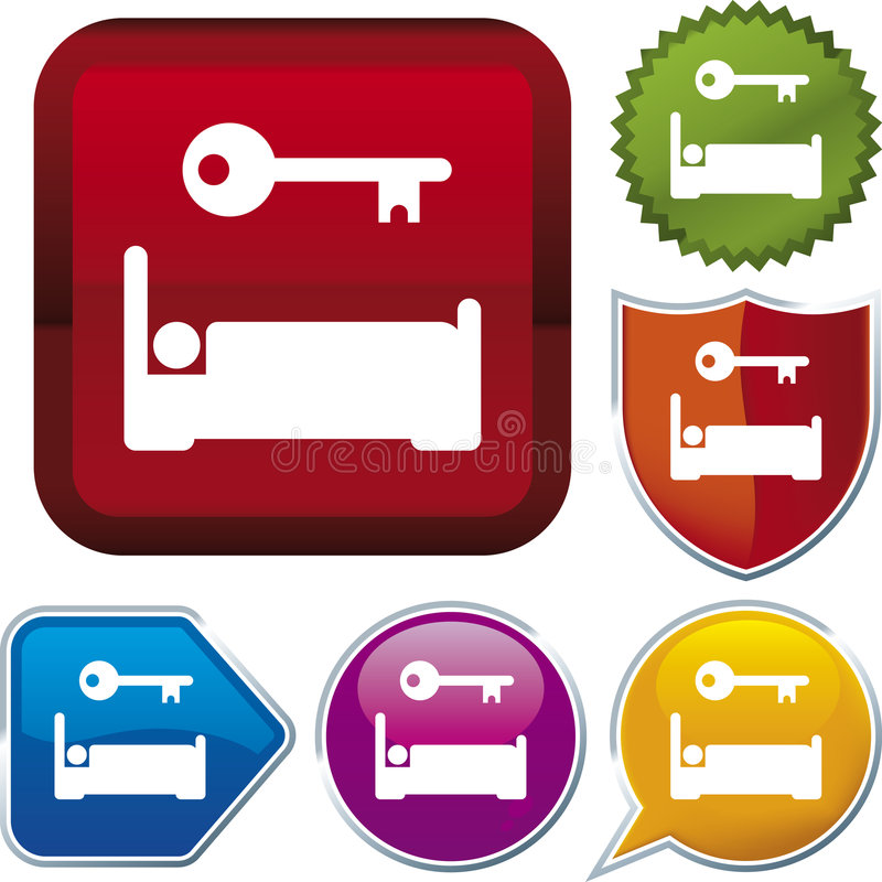 Icon series: accommodation. Vector icon illustration of accommodation over diverse buttons royalty free illustration
