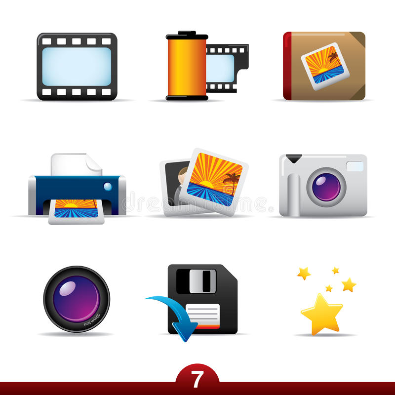 Download Icon series - photography stock vector. Image of vector - 9829522
