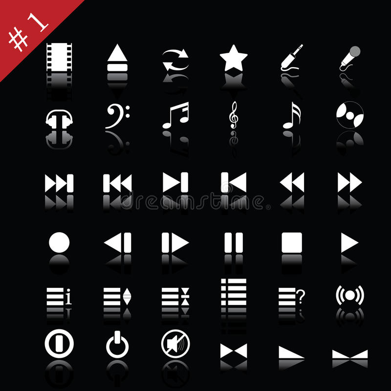 Download Icon set#1 stock vector. Illustration of films, clips - 9694321