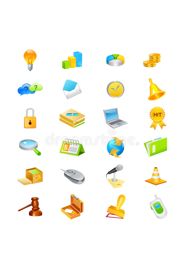 Icon set. With various business, technology and other images. Isolated against a white background. Vector format available stock illustration