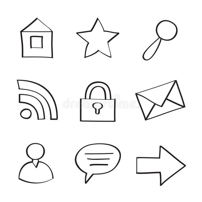 Icon Set. Web Icons on White Background stock illustration