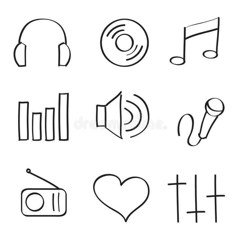 Download Icon Set stock vector. Image of audio, made, musical - 15385036
