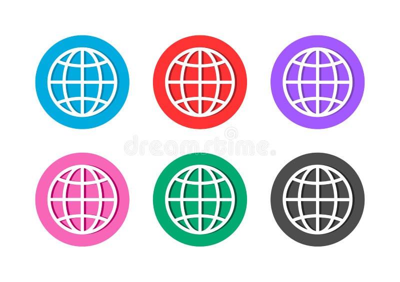 Globe icon button royalty free illustration