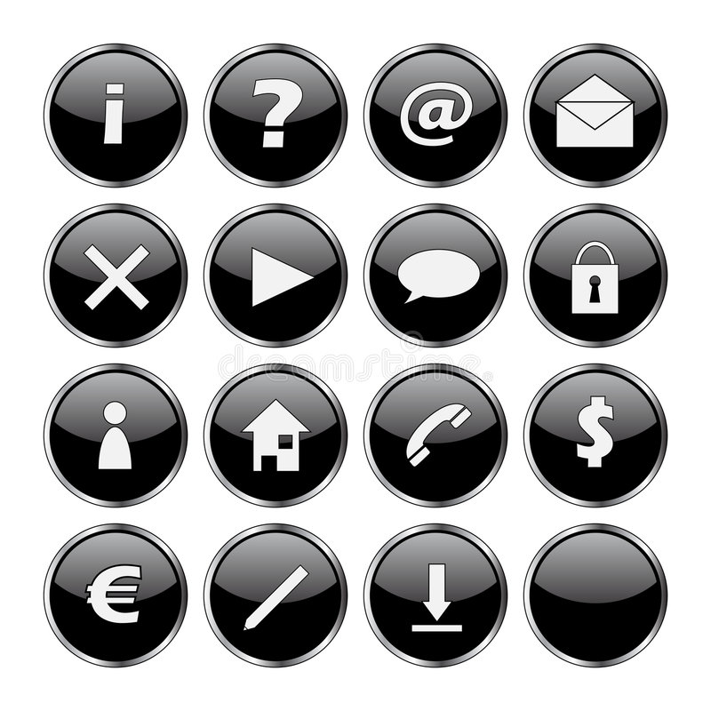 Icon set of 16 black buttons stock illustration