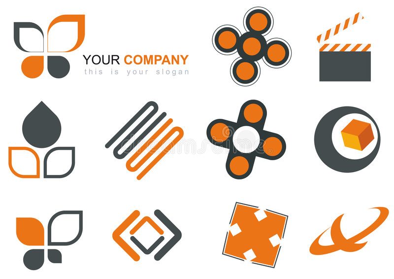Icon Set. Orange and grey icon vector set