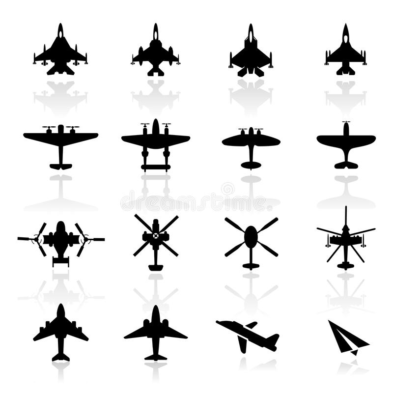 Icon Set  Airplanes Royalty Free Stock Photography