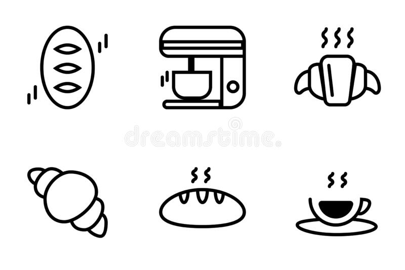 Icon set of baked bread dessert for coffe time, french crossiant and bread with black espresso hot coffee.  vector illustration