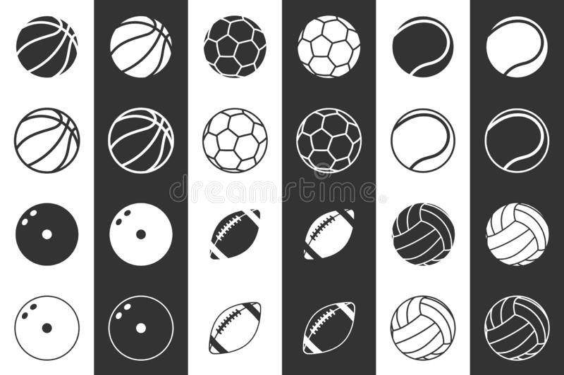 Icon set of balls for football, basketball, volleyball, rugby, bowling and tennis. In two variations. On a white and black background. 10 eps stock illustration