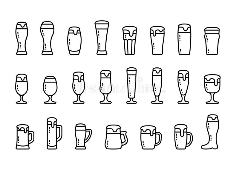 Icon set beer with foam in beer mugs and glasses stock illustration