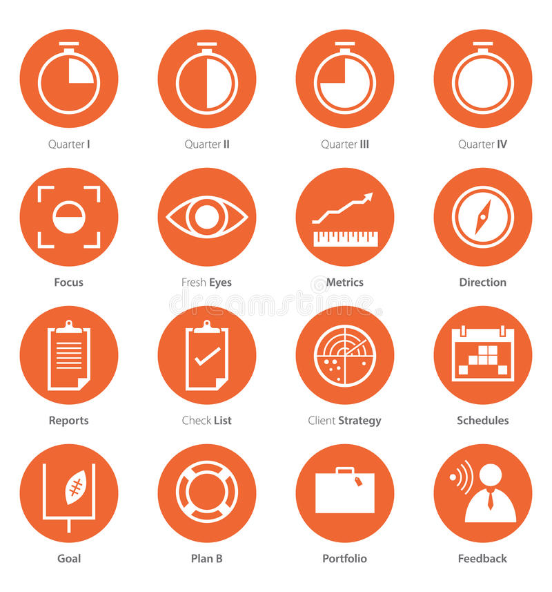 Icon Set of Business Career, Marketing in Flat Design vector illustration