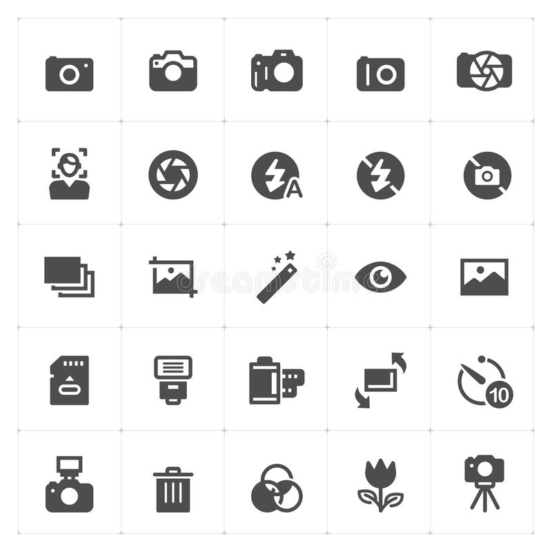 Icon set - camera and photograph filled icon stock illustration