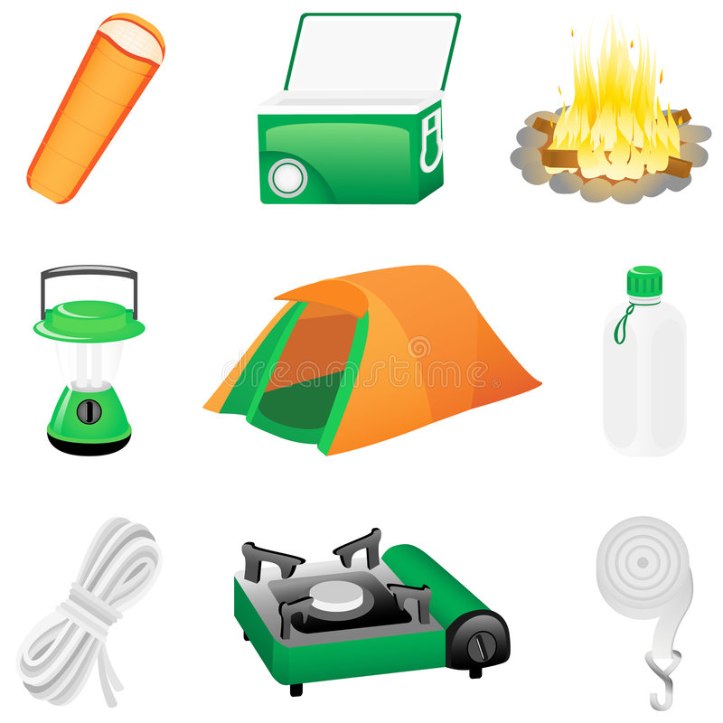 Download Icon set Camping stock vector. Image of holiday, equipment - 8971194