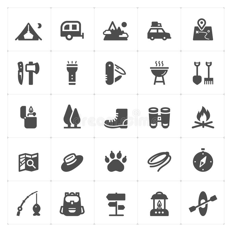 Icon set - Camping filled icon. Style vector illustration on white background stock illustration