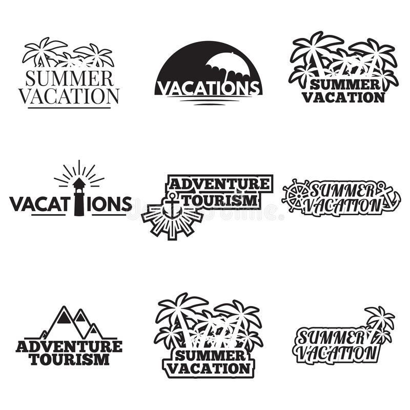 Icon set camping. Set of camping logos, labels and emblems vector illustration