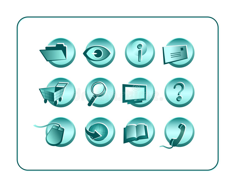 Download Icon Set With Clipping Paths Stock Illustration - Illustration of help, eyes: 997882