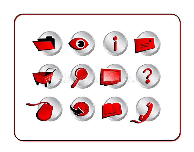 Download Icon Set With Clipping Paths - Red Stock Illustration - Illustration: 1159103