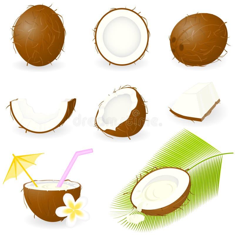 Icon Set Coconut stock illustration