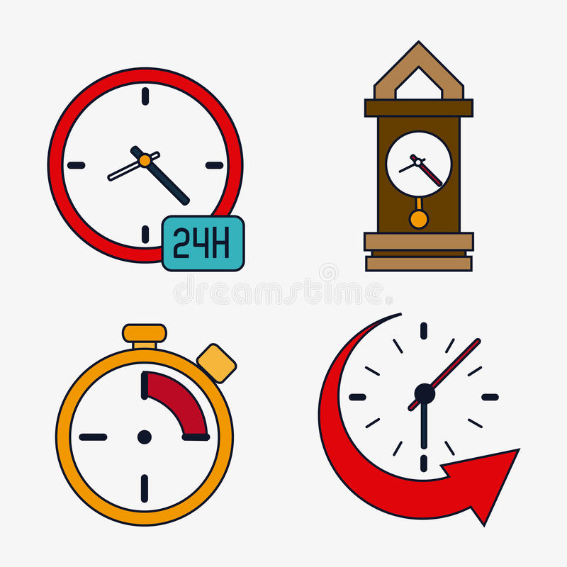 Icon set of colorfull Clocks. Time design. Vector graphic. Time concept represented by icon set of colorfull Clocks. Isolated and flat illustration stock illustration