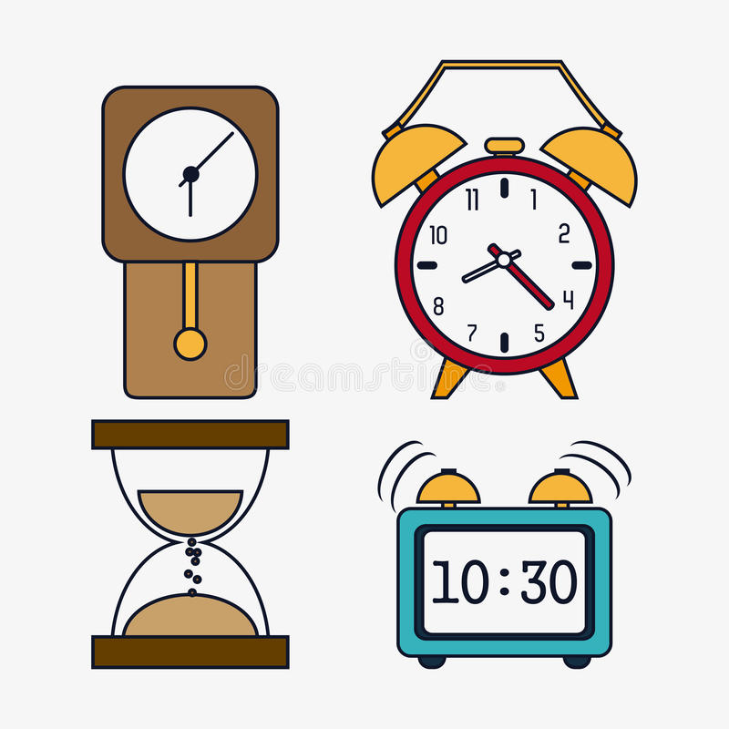 Icon set of colorfull Clocks. Time design. Vector graphic. Time concept represented by icon set of colorfull Clocks. Isolated and flat illustration vector illustration
