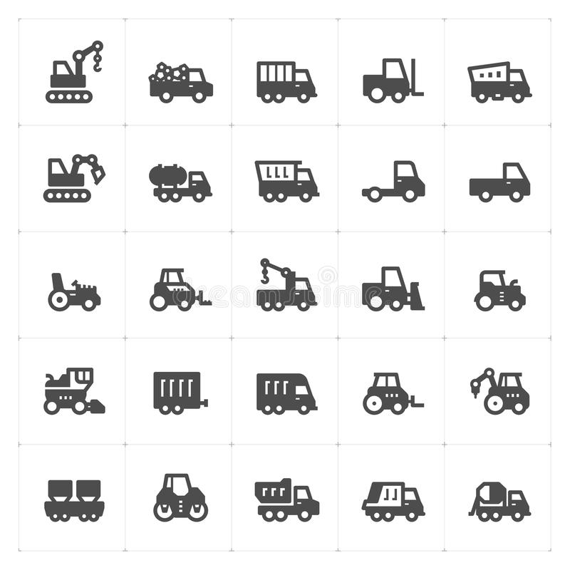 Icon set - construction and machine filled icon royalty free illustration