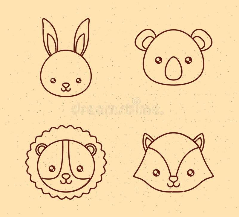 Cute animals design. Icon set of cute animals concept over yellow background, vector illustration royalty free illustration