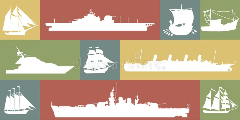 Icon set of different ships stock illustration