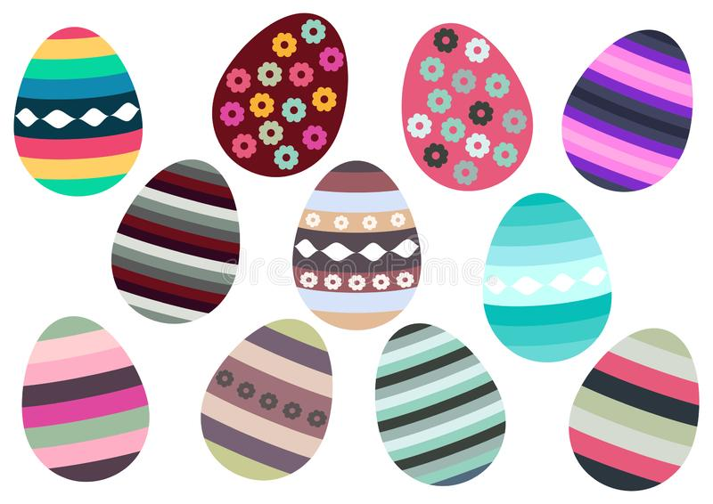 Icon set of Easter eggs isolated on white background, colorful icons royalty free stock photos