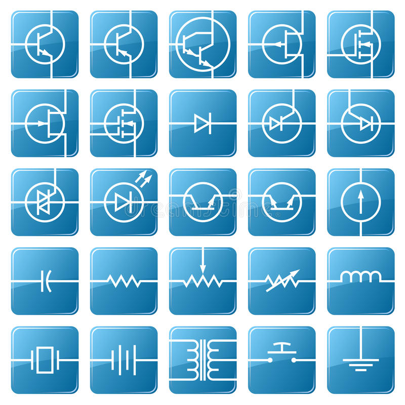 Icon set of electrical circuits. royalty free illustration