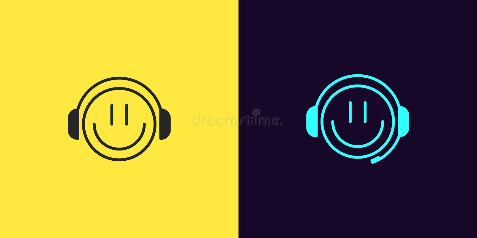 Icon set of emoji Gamer with Smile and Headphones royalty free illustration