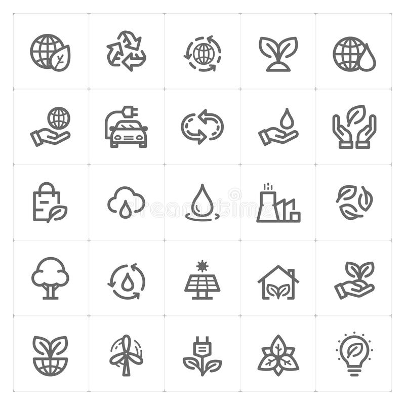 Icon set - environment outline stroke vector illustration