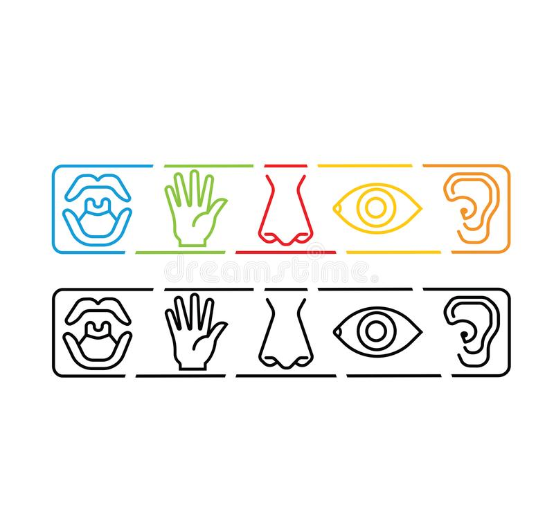 Icon set of five human senses vision eye, smell nose, hearing ear, touch hand, taste mouth. Simple line icon vector illustration. royalty free illustration