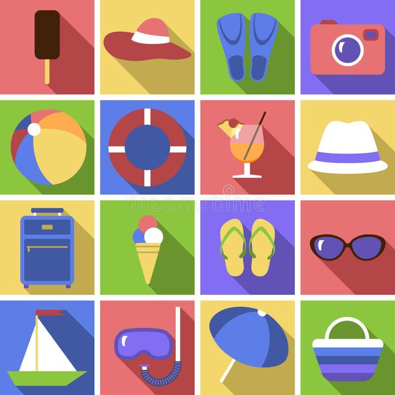 Icon set. Flat travel objects. royalty free illustration