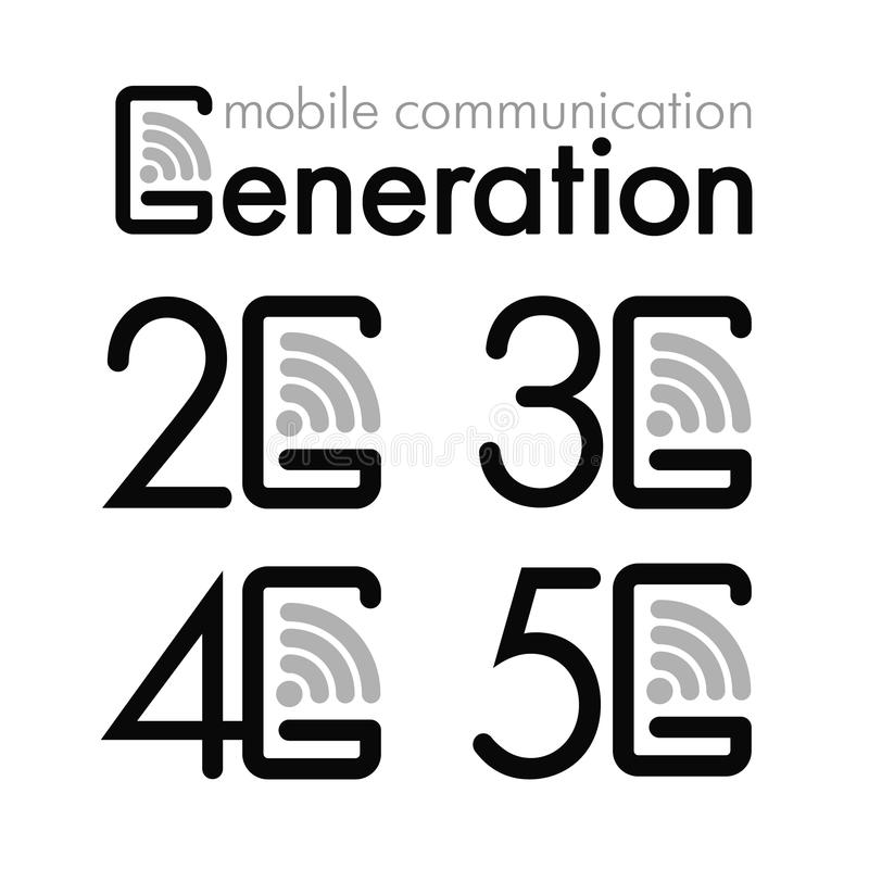 Icon Set 2g 3g 4g And 5g Symbols Of The Mobile Generation Stock