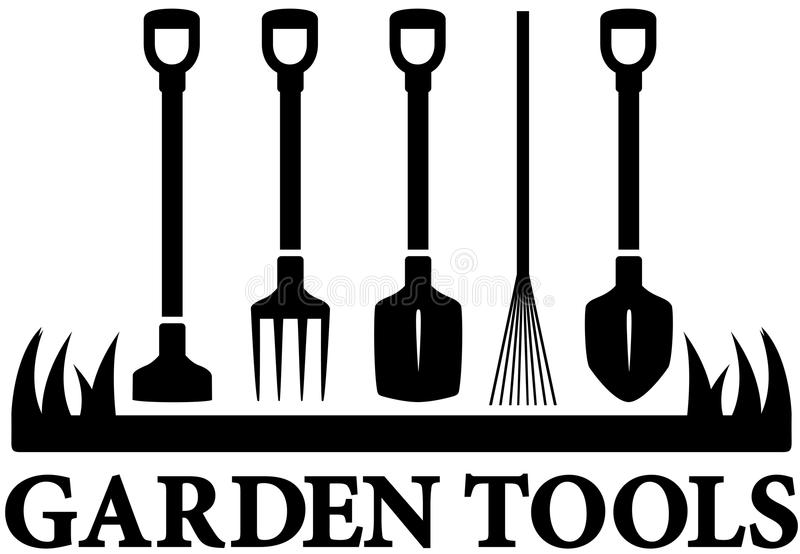 Icon with set garden tools. Landscaping black icon with set garden tools royalty free illustration