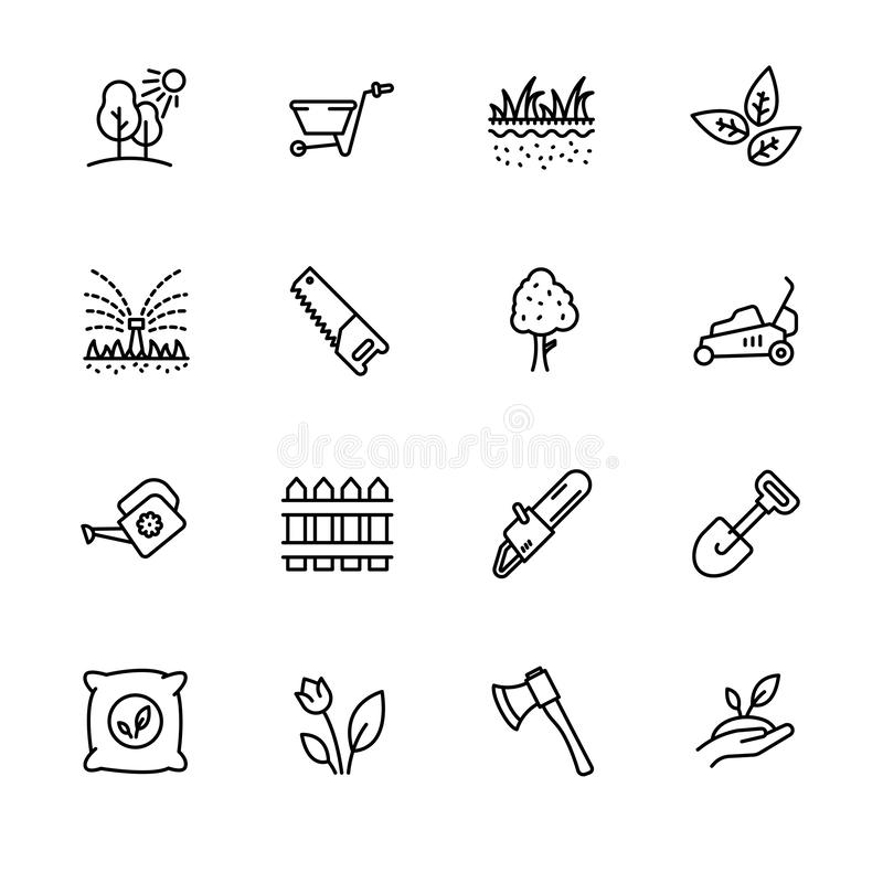 Icon set gardening, agriculture and horticulture. Contains such symbols gardening tools for growing plant in garden. Watering can, lawn, saw, ax, shovel and stock illustration