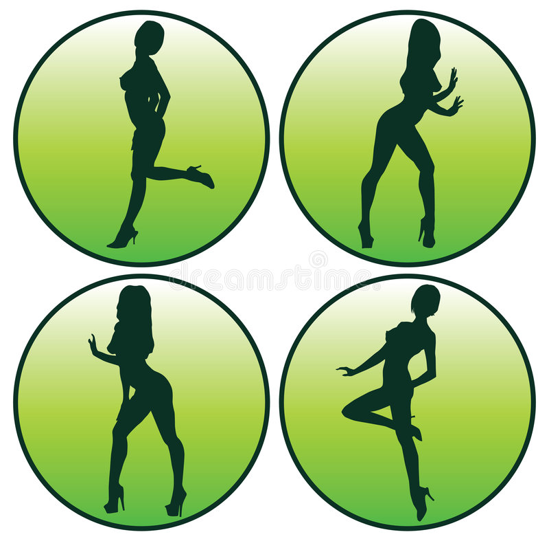 Icon set of Girls posing. Icon set of Silhouettes girls in buttons view stock illustration