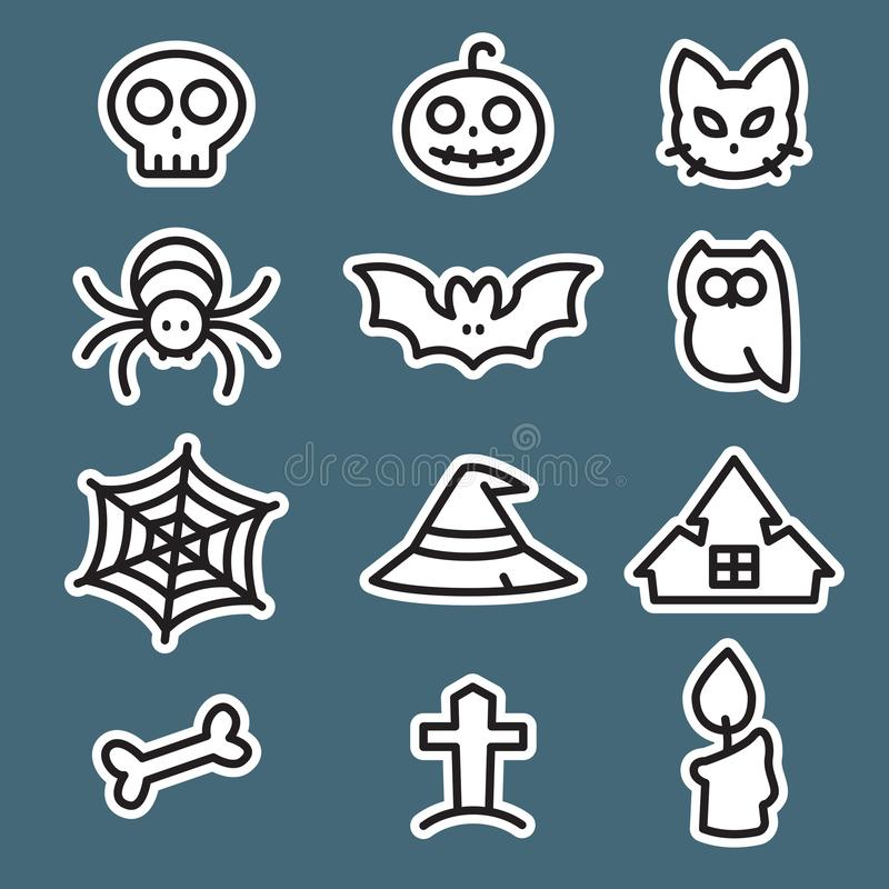 Icon set Halloween, flat style, vector. Icon set Halloween, flat style, EPS 10 vector illustration