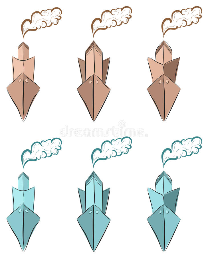 Download Icon Set Of  Hand Drawn Retro Ships With Smoke Stock Vector - Image: 26381782