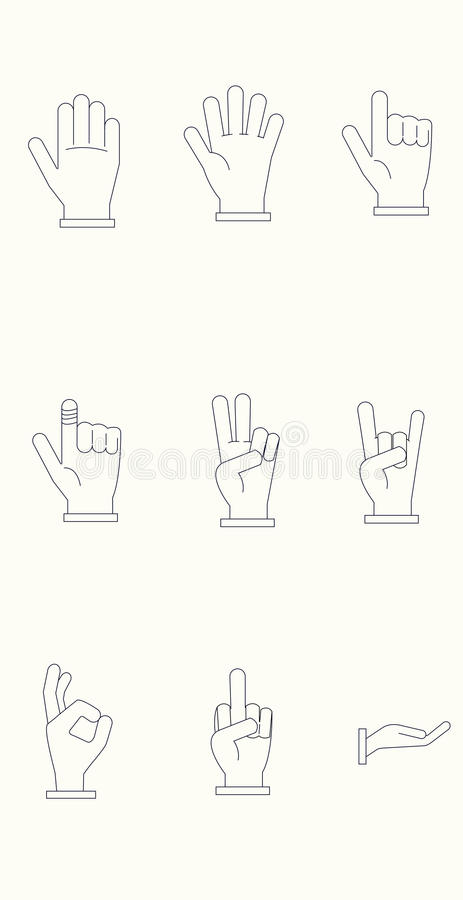 Icon set of Hands with Dark Lines and Light Background royalty free stock photography