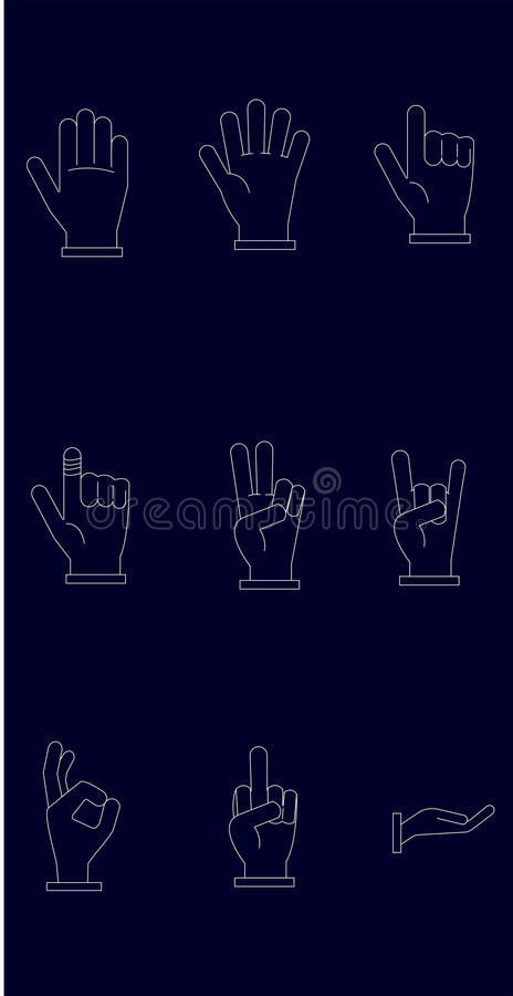 Icon set of Hands with White Lines and Dark Blue Background royalty free stock image